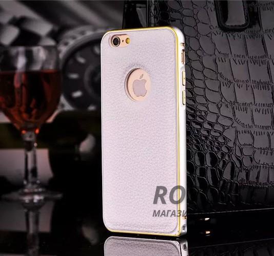 Металлический бампер с кожаной вставкой для Apple iPhone 6/6s (4.7) (Белый)Описание:совместимость: Apple iPhone 6/6s (4.7);форм-фактор: накладка;материал: металл, искусственная кожа.Преимущества:эргономичный;легко устанавливается и снимается;устойчивый к повреждениям;не скользит в руках;элегантный дизайн.<br><br>Тип: Чехол<br>Бренд: Epik<br>Материал: Металл
