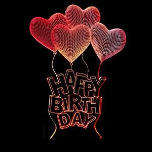 """Светодиодный 3D светильник-ночник с проекцией объемного изображения """"Шарики Happy Birthday"""""""