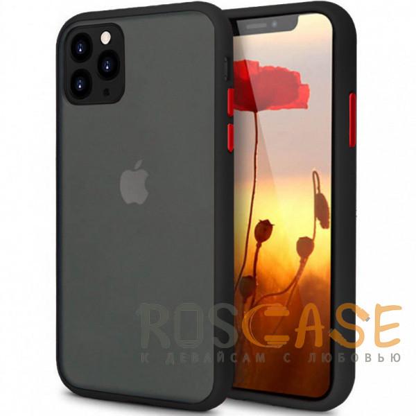 Фото Черный Противоударный матовый полупрозрачный чехол для iPhone 11 Pro с защитой камеры