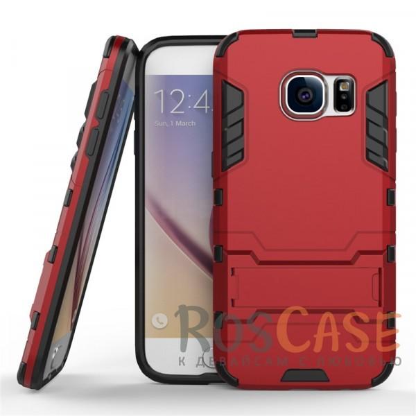 Ударопрочный чехол-подставка Transformer для Samsung G930F Galaxy S7 с мощной защитой корпуса (Красный / Dante Red)Описание:подходит для Samsung G930F Galaxy S7;материалы: термополиуретан, поликарбонат;формат: накладка.&amp;nbsp;Особенности:функциональные вырезы;функция подставки;двойная степень защиты;защита от механических повреждений;не скользит в руках.<br><br>Тип: Чехол<br>Бренд: Epik<br>Материал: TPU