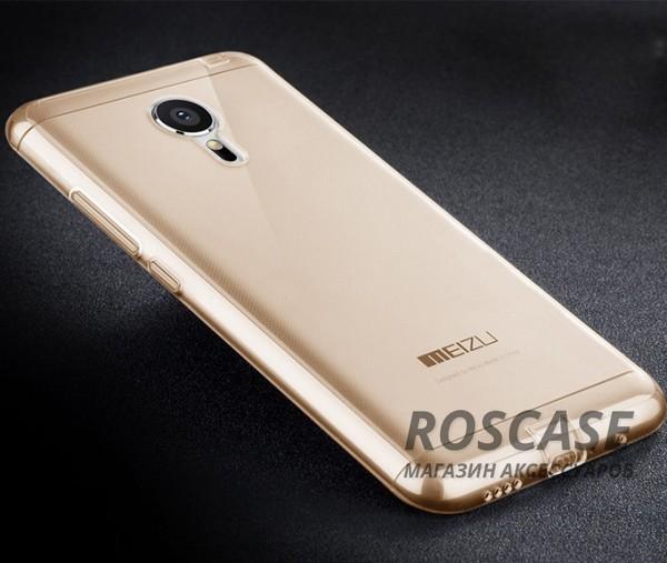 Тонкий прозрачный силиконовый чехол Msvii для Meizu MX5 с заглушкой (Золотой)Описание:производитель  -  Msvii;совместимость  -  смартфон Meizu MX5;материал  -  силикон;форм-фактор  -  накладка.Особенности:есть заглушка;износоустойчив и прочен;не&amp;nbsp; теряет гибкости и эластичности;не подвергается деформации;имеет все функциональные вырезы;не скользит в руках.<br><br>Тип: Чехол<br>Бренд: Epik<br>Материал: TPU