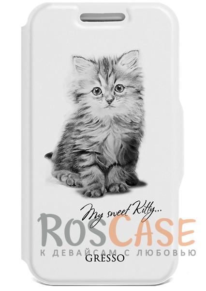 """Фото Универсальный чехол-книжка на застежке с принтом котенка Gresso """"Пушистики-котенок"""" для смартфона 4.9-5.2 дюйма"""