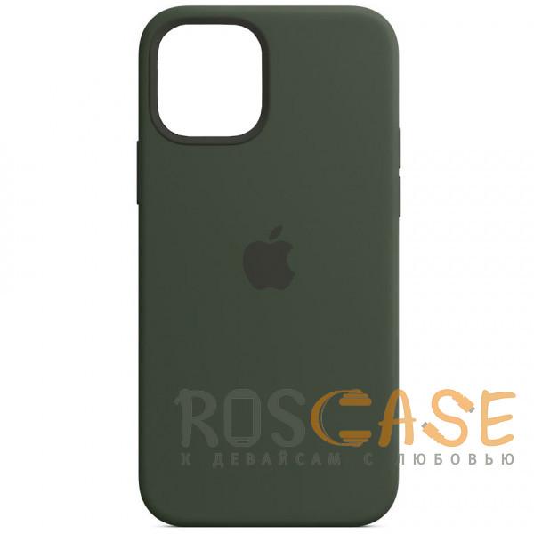 Фото Темно зеленый Силиконовый чехол Silicone Case с микрофиброй для iPhone 12 Pro Max