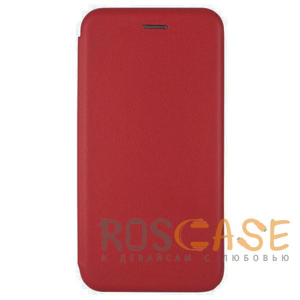 Фотография Красный Open Color | Кожаный чехол-книжка для Huawei Y6 (2019) с функцией подставки и магнитом