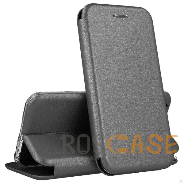 Фото Серый Open Color | Кожаный чехол-книжка для Xiaomi Redmi 8 с функцией подставки и магнитом