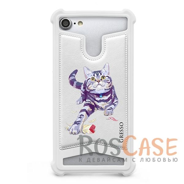 """Фото Универсальный чехол-накладка с противоударным бампером Gresso с картинкой котика """"Пушистики-Британец"""" для смартфона 5.3-5.6 дюйма"""