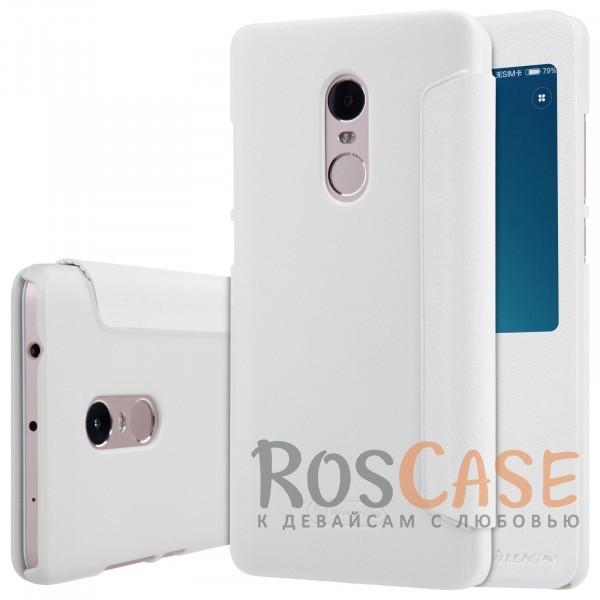 Кожаный чехол (книжка) Nillkin Sparkle Series для Xiaomi Redmi Note 4 (Белый)Описание:бренд&amp;nbsp;Nillkin;изготовлен для Xiaomi Redmi Note 4;материал: искусственная кожа, поликарбонат;тип: чехол-книжка.Особенности:не скользит в руках;защита от механических повреждений;функция Sleep mode;интерактивное окошко;не выгорает;блестящая поверхность;надежная фиксация.<br><br>Тип: Чехол<br>Бренд: Nillkin<br>Материал: Искусственная кожа