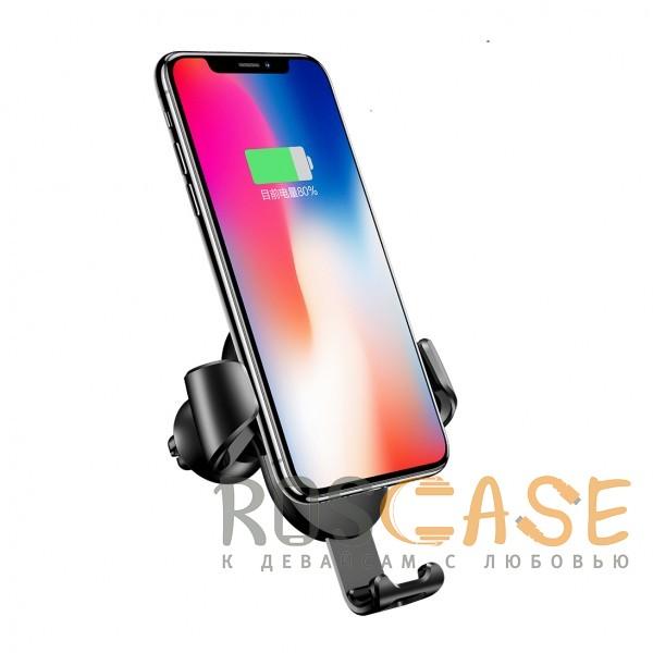Фотография Черный USAMS CD47 | Автодержатель с беспроводной зарядкой для смартфонов до 6 дюймов