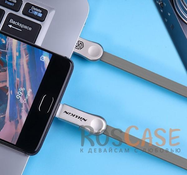 Изображение Серый Nillkin Plus 3   Плоский кабель с разъемами MicroUSB и Type-C