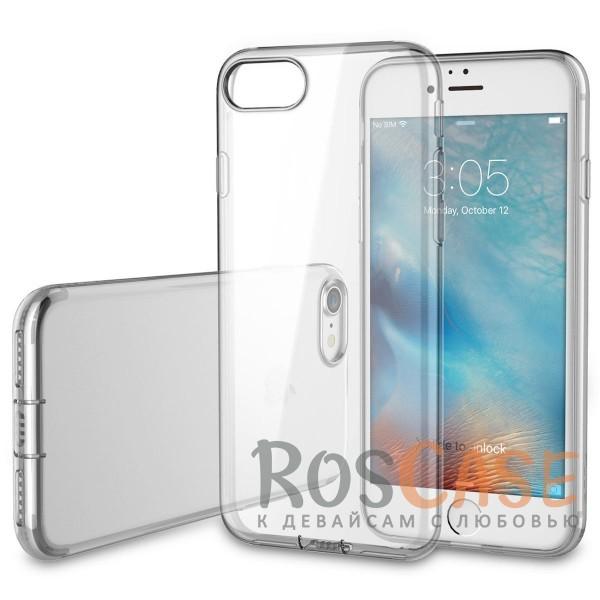 Прозрачный ультратонкий силиконовый чехол ROCK Slim Jacket для Apple iPhone 7 / 8 (4.7) (Бесцветный / Transparent с заглушкой)Описание:производитель  -  Rock;совместим с Apple iPhone 7 / 8 (4.7);материал  -  термополиуретан;тип  -  накладка.&amp;nbsp;Особенности:ультратонкая;прозрачная;не скользит;разъемы учитывают все функции;легко устанавливается;легко очищается;защищает от царапин и ударов.<br><br>Тип: Чехол<br>Бренд: ROCK<br>Материал: TPU