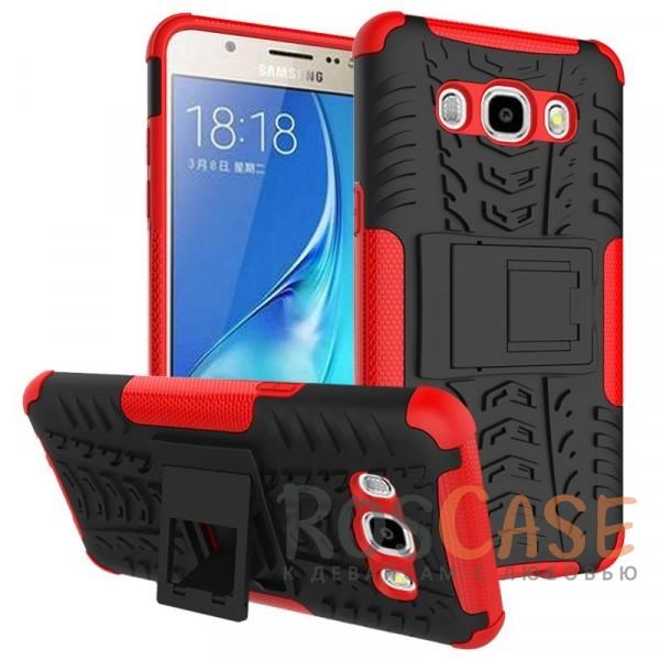 Противоударный двухслойный чехол Shield для Samsung J510F Galaxy J5 (2016) с подставкой (Красный)Описание:разработан специально для Samsung J510F Galaxy J5 (2016);материалы: поликарбонат, термополиуретан;тип: накладка.&amp;nbsp;Особенности:двухслойный;ударопрочный;оригинальный дизайн;стильный дизайн;в наличии все функциональные вырезы;функция подставки.<br><br>Тип: Чехол<br>Бренд: Epik<br>Материал: TPU