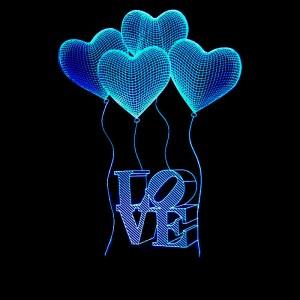 """Светодиодный 3D светильник-ночник с проекцией объемного изображения """"Шарики LOVE"""""""