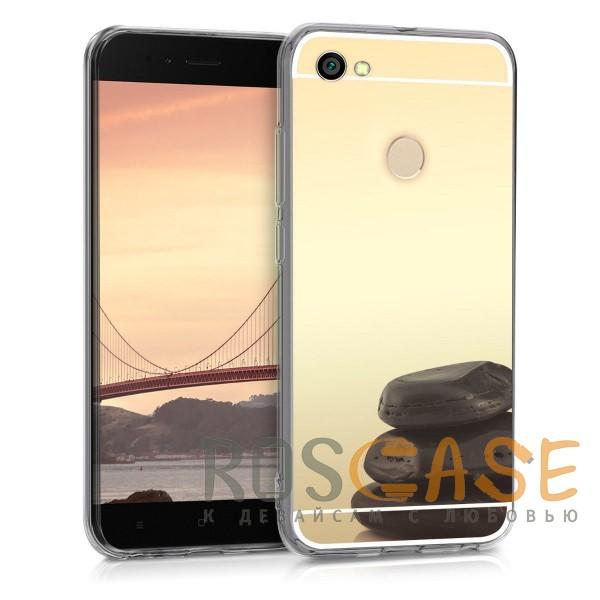 Фотография Золотой Силиконовый чехол для Xiaomi Redmi Note 5A Prime / Redmi Y1 с зеркальной вставкой