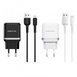 Borofone BA25A | Зарядное устройство для телефона 2USB / 2.4A + кабель Type-C 1м