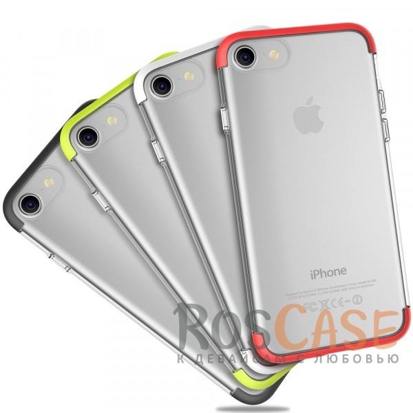 Гибкий прозрачный чехол из силикона с цветными защитными цветными вставками по краям для Apple iPhone 7 / 8 (4.7)Описание:компания&amp;nbsp;Rock;материалы: термополиуретан, поликарбонат;совместимость: Apple iPhone 7 / 8 (4.7);тип: накладка.<br><br>Тип: Чехол<br>Бренд: ROCK<br>Материал: TPU