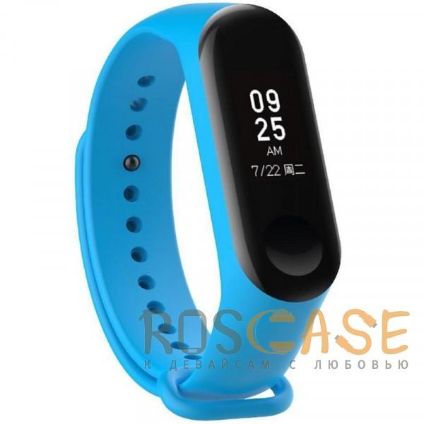 Фото Голубой Одноцветный силиконовый ремешок для фитнес-браслета Xiaomi Mi Band 2