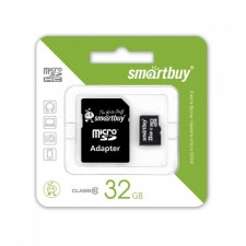 SmartBuy | Карта памяти microSDHC 32 GB Card Class 10 + SD adapter для Samsung Galaxy J6+ (2018)