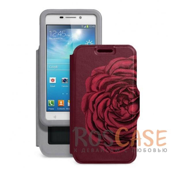 Универсальный женский чехол-книжка с принтом цветка Калейдоскоп Роза для смартфона с диагональю 4,2-4,5 дюйма (Бордовый)Описание:совместимость -&amp;nbsp;смартфоны с диагональю 4,2-4,5 дюйма;материал - искусственная кожа;тип - чехол-книжка;предусмотрены все необходимые вырезы;защищает девайс со всех сторон;цветочный рисунок;ВНИМАНИЕ:&amp;nbsp;убедитесь, что ваша модель устройства находится в пределах максимального размера чехла.&amp;nbsp;Размеры чехла: 127*67 мм.<br><br>Тип: Чехол<br>Бренд: Gresso<br>Материал: Искусственная кожа