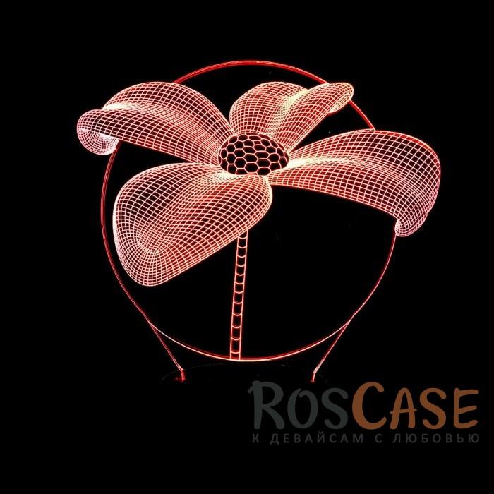 """Фото Светодиодный 3D светильник-ночник с проекцией объемного изображения """"Цветок"""""""