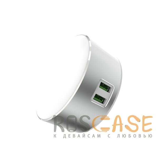 Изображение Серебряный LDNIO A2208 | LED лампа с 2 USB разъемами для зарядки устройств
