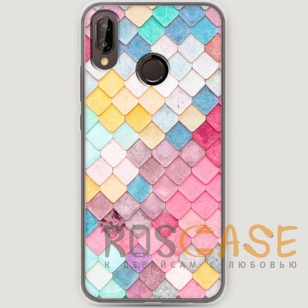 Фото Нежные ромбики RosCase   Силиконовый чехол для Huawei P20 Lite