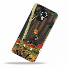 """Тонкий силиконовый чехол """"Мальчик и Мухоморы"""" с прозрачными краями для Meizu M3 Note"""