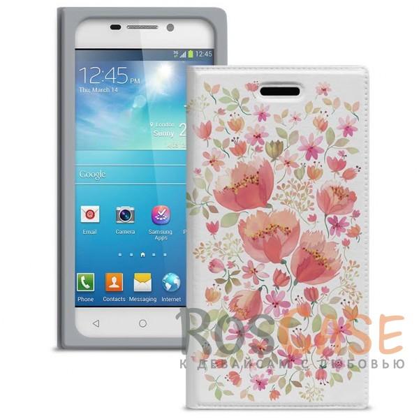 """Универсальный яркий чехол-книжка с цветочным рисунком Gresso """"Вива"""" для смартфона 4.2-4.5 дюйма"""