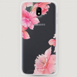 RosCase | Силиконовый чехол Розовые цветочные уголки на Samsung J730 Galaxy J7 (2017)