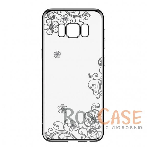 Прозрачная глянцевая силиконовая накладка со стразами Devia Crystal Joyous и цветочным узором для Samsung G955 Galaxy S8 Plus (Черный)