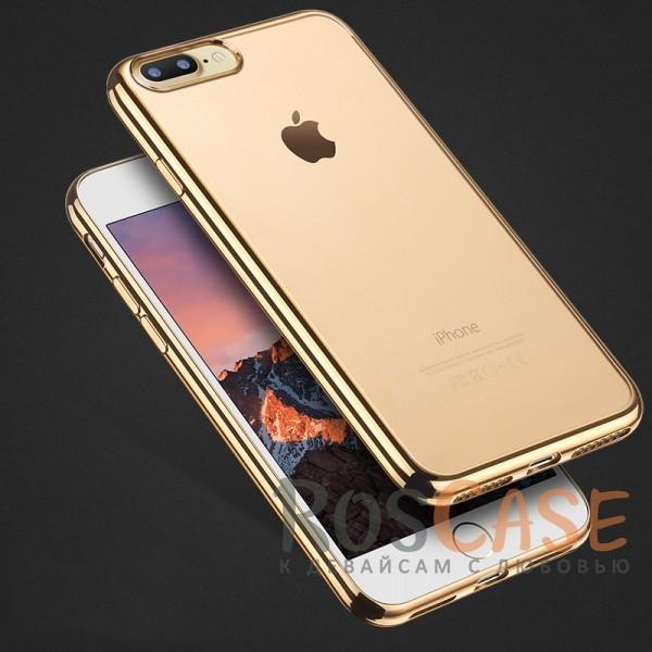 Прозрачный силиконовый чехол для Apple iPhone 7 plus (5.5) с глянцевой окантовкой (Золотой)Описание:материал - силикон;совместим с Apple iPhone 7 plus (5.5);тип - накладка.Особенности:прозрачный;глянцевая окантовка;все вырезы предусмотрены;защищает от царапин и потертостей;тонкий дизайн;плотно облегает корпус.<br><br>Тип: Чехол<br>Бренд: Epik<br>Материал: TPU