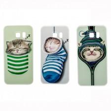 """Тонкий силиконовый чехол с принтом """"Милые котята""""  для Samsung Galaxy S6 Edge (G925F)"""