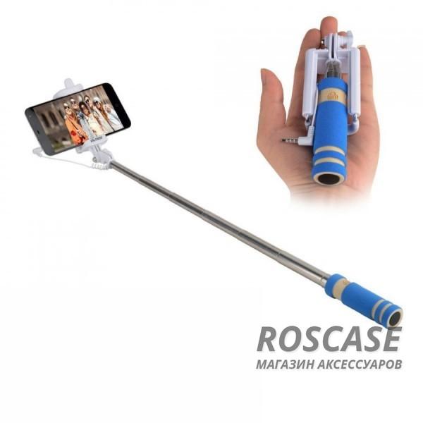 Фото Синий Телескопический Mini монопод для селфи (кабель 3,5) (13.8см - 48см)