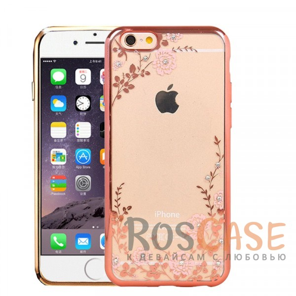 Прозрачный чехол с цветами и стразами для Apple iPhone 6 plus (5.5)  / 6s plus (5.5) с глянцевым бампером (Розовый золотой/Розовые цветы)Описание:совместим с Apple iPhone 6 plus (5.5)  / 6s plus (5.5);материал - термополиуретан;тип - накладка.<br><br>Тип: Чехол<br>Бренд: Epik<br>Материал: TPU