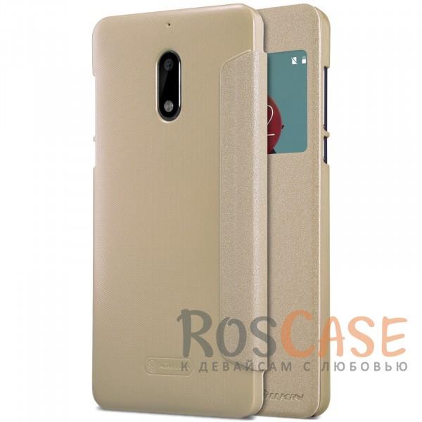 Защитный чехол-книжка с информационным окошком для Nokia 6 (Золотой)Описание:от компании&amp;nbsp;Nillkin;совместим с Nokia 6;материалы: поликарбонат, искусственная кожа;тип: чехол-книжка.<br><br>Тип: Чехол<br>Бренд: Nillkin<br>Материал: Искусственная кожа
