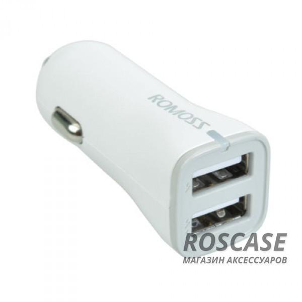 АЗУ ROMOSS 2 USB (2.1A + 1.0 А) (AU17-101) (Белый)Описание:производитель&amp;nbsp; - &amp;nbsp;Romoss;выполнен из пластика и ABS;тип&amp;nbsp; - &amp;nbsp;АЗУ;совместимость - универсальная.Особенности:разъем - USB 2.0;заряд аккумулятора гаджета от прикуривателя;вход - DC 12-24V 2.4A (MAX);выход - DC 5V/2.1A, DC 5V/1A;2 USB;кабель в комплекте;размеры -&amp;nbsp;2,2*2*6 см;вес - 15,7 г.<br><br>Тип: Автозарядка<br>Бренд: ROMOSS