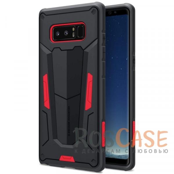 Ударопрочный двухслойный пластиковый чехол для Samsung Galaxy Note 8 (Красный)Описание:производитель  - &amp;nbsp;Nillkin;чехол разработан для использования с Samsung Galaxy Note 8;материал  -  термополиуретан, поликарбонат;тип  -  накладка;ударопрочная конструкция;цветные вставки;защита боковых кнопок;предусмотрены все функциональные вырезы.<br><br>Тип: Чехол<br>Бренд: Nillkin<br>Материал: Поликарбонат