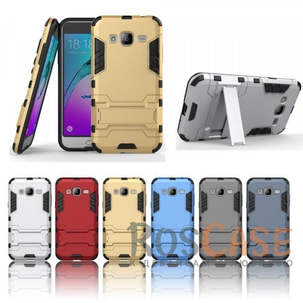 Ударопрочный чехол-подставка Transformer для Samsung J320F Galaxy J3 (2016) с мощной защитой корпусаОписание:подходит для Samsung J320F Galaxy J3 (2016);материалы: термополиуретан, поликарбонат;формат: накладка.&amp;nbsp;Особенности:функциональные вырезы;функция подставки;двойная степень защиты;защита от механических повреждений;не скользит в руках.<br><br>Тип: Чехол<br>Бренд: Epik<br>Материал: TPU