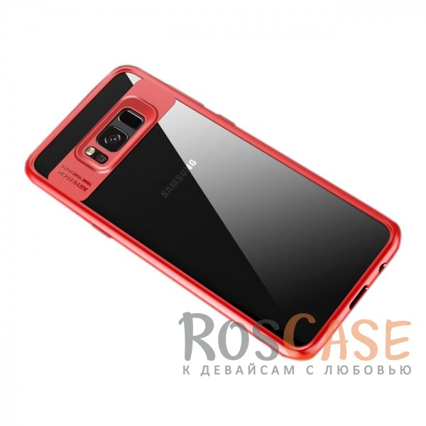 Прозрачный пластиковый чехол с антиударным бампером и защитой камеры для Samsung G955 Galaxy S8 Plus (Красный / Red)Описание:совместим с Samsung G955 Galaxy S8 Plus;производитель: ROCK;ультратонкий дизайн;защита задней панели и боковых граней;материал - TPU, пластик;тип - накладка;защищает от ударов и царапин;предусмотрены все необходимые функцильнальные&amp;nbsp;вырезы.<br><br>Тип: Чехол<br>Бренд: ROCK<br>Материал: Пластик