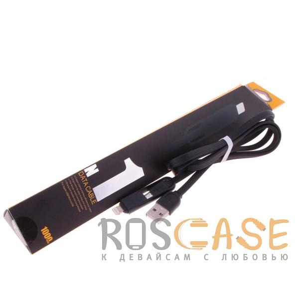 Фотография Черный Remax RC-033T | Дата кабель с двойным разъемом Lightning/MicroUSB (100 cм)