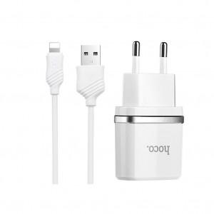 Зарядное устройство Hoco C12 2USB 2.4A + кабель Lightning