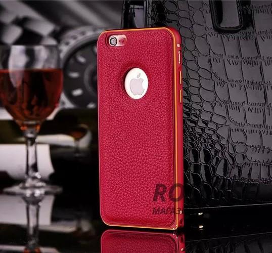 Металлический бампер с кожаной вставкой для Apple iPhone 6/6s (4.7) (Красный)Описание:совместимость: Apple iPhone 6/6s (4.7);форм-фактор: накладка;материал: металл, искусственная кожа.Преимущества:эргономичный;легко устанавливается и снимается;устойчивый к повреждениям;не скользит в руках;элегантный дизайн.<br><br>Тип: Чехол<br>Бренд: Epik<br>Материал: Металл