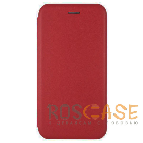 Фотография Красный Open Color | Кожаный чехол-книжка для Xiaomi Redmi 8 с функцией подставки и магнитом