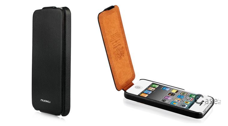 фото кожаный чехол Nuoku Elite (флип) для Apple iPhone 5 (+пленка)