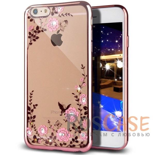 Прозрачный чехол со стразами для Apple iPhone 7 / 8 (4.7) с глянцевым бампером (Розовый золотой/Розовые цветы)Описание:совместим с Apple iPhone 7 / 8 (4.7);материал - термополиуретан;тип - накладка.&amp;nbsp;Особенности:прозрачный;изящный рисунок;украшен стразами;защищает от царапин и ударов;не скользит в руках.<br><br>Тип: Чехол<br>Бренд: Epik<br>Материал: TPU
