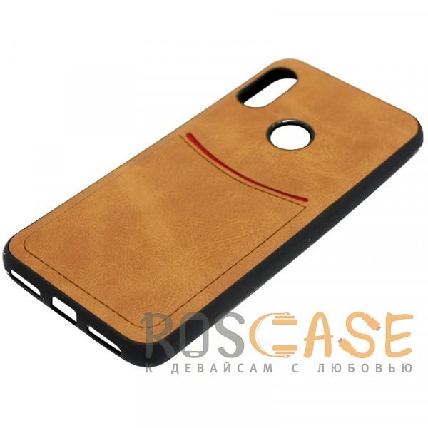 Изображение Светло-коричневый ILEVEL | Чехол с кожаным покрытием и с карманом-визитницей для Xiaomi Redmi Note 6 Pro