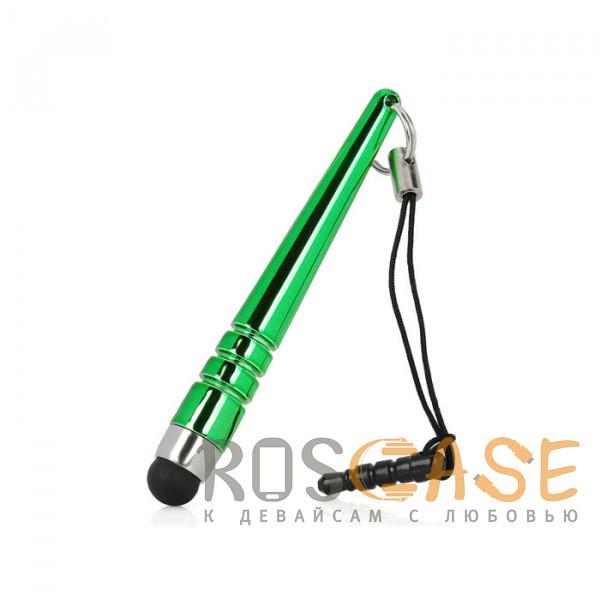Фото Зеленый Стилус короткий с заглушкой разъема наушников для телефона / смартфона