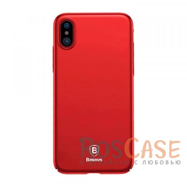 Стильный пластиковый ультратонкий чехол Baseus Thin с защитой камеры для Apple iPhone X (5.8) (Красный)Описание:компания - Baseus;материал - пластик;совместимость -&amp;nbsp;Apple iPhone X (5.8);защитные бортики вокруг камеры;на чехле не заметны отпечатки пальцев;предусмотрены все необходимые вырезы;защищает заднюю панель и грани;формат - накладка;дублирующие защитные кнопки;тонкий дизайн.<br><br>Тип: Чехол<br>Бренд: Baseus<br>Материал: Пластик