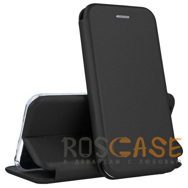 Фото Черный Open Color | Кожаный чехол-книжка для Huawei P40 с функцией подставки и магнитом