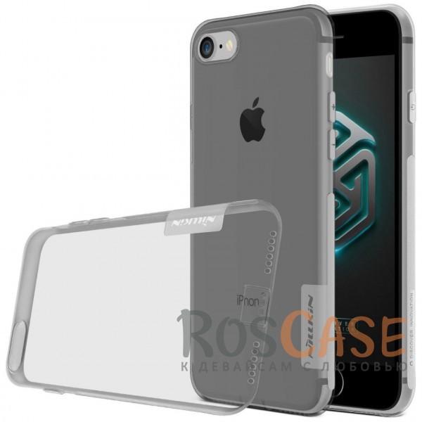Мягкий прозрачный силиконовый чехол для Apple iPhone 7 / 8 (4.7) (Серый (прозрачный))Описание:производитель  -  бренд&amp;nbsp;Nillkin;совместим с Apple iPhone 7 / 8 (4.7);материал  -  термополиуретан;тип  -  накладка.&amp;nbsp;Особенности:в наличии все вырезы;не скользит в руках;тонкий дизайн;заглушка на отверстие для зарядки.защита от ударов и царапин;прозрачный.<br><br>Тип: Чехол<br>Бренд: Nillkin<br>Материал: TPU