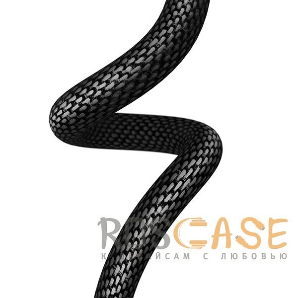 Фотография Черный T-phox | Плетеный дата-кабель Type-C to Lightning (18W) с функцией быстрой зарядки